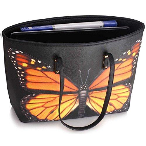 Xardi Shoulder Women Leather Large Faux Floral Travel Bag Handbag London Black Butterfly Designer Ladies Tote PrwgqPt