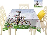 Angoueleven Tablecloth Outdoor,Woman Riding Vintage Romantic Bike with Spring Time Flowers in Basket...