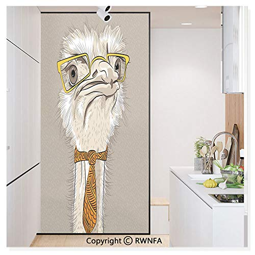 RWN Film Removable Static Decorative Privacy Window Films Sketch Portrait of Funny Modern Ostrich Bird with Yellow Eyeglasses and Tie for Glass (17.7In. by 78.7In),Taupe Beige - Ostrich Charm Bird