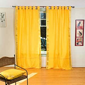 yellow kitchen curtains yellow tab top sheer sari curtain drape 28720
