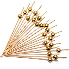 Cocktail Picks Handmade Bamboo Toothpicks 4.7″ Multicolor Pearl Party Supplies