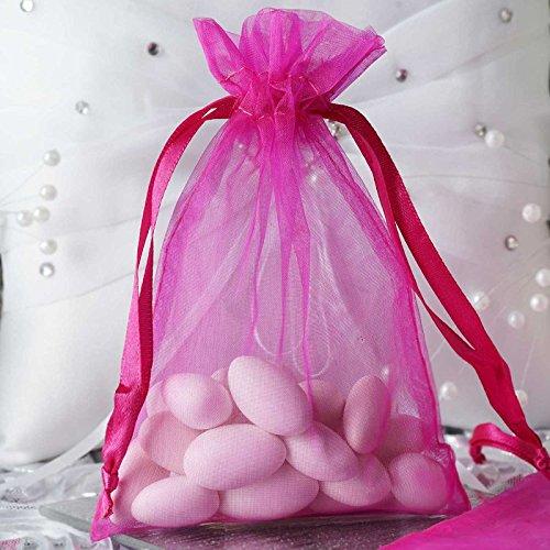 BalsaCircle 50 pcs 4x6-Inch Fuchsia Organza Drawstring Bags - Wedding Party Favors Jewelry Pouch Candy Gift - Candy Fuchsia