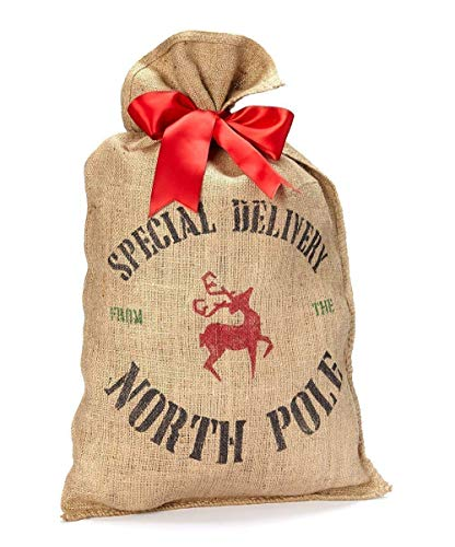 Burlap Santa Sack Christmas Present Bag Wrapping