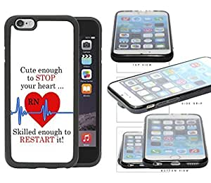 RN Nurse Red Heart with Blue EKG Line & Quote Rubber TPU Cell Phone Case Cover iphone 5 5s ( SCREEN)