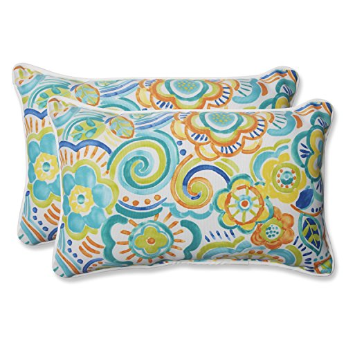 Pillow Perfect 569192 Outdoor Bronwood Caribbean Rectangular Throw Pillow, 11.5 x 18.5 , Multicolored