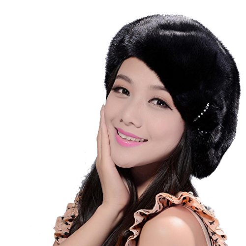 Women's Mink Full Fur Beret Hats (One Size, Black With Flower)