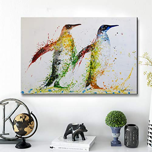 ARTLAND Large Framed Penguin Wall Art Abstract Animal Wall Decor Hand-Painted Artwork 'Floral Penguin' Framed Animal Oil Painting on Canvas for Bedroom Living Room Home Decoration 24x36inches