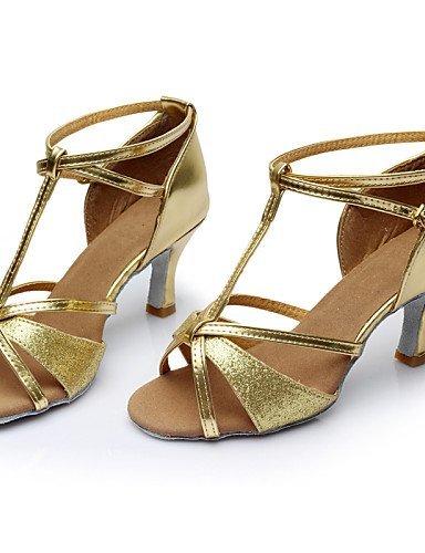 Satin Black Gold Dance ShangYi Brown Shoes Silver Latin Paillette Cuban Red Heel Customizable Women's Red wnXqAR