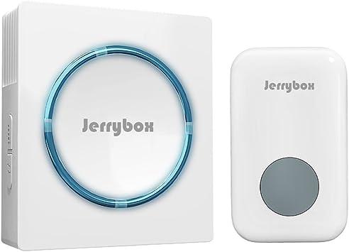Jerrybox Kit de Timbre Inalámbrico, 1 Pulsador y 1 Receptor, Blanco, Gran Alcance de 300m, para Exterior| Avisador para Puerta Impermeable y Enchufable| Portero- Alarma de Casa Automático sin Hilos: Amazon.es: Bricolaje