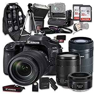 Canon EOS 80D Wi-Fi Full HD 1080P Digital SLR Camera with Canon EF-S 18-135mm f/3.5-5.6 IS USM Lens + Canon EF-S 55-250mm f/4-5.6 IS STM Lens + Canon EF 50mm f/1.8 STM Lens