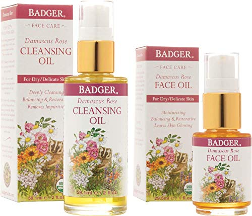 Rose Face Balm - Badger Damascus Rose Cleansing Oil and Face Oil