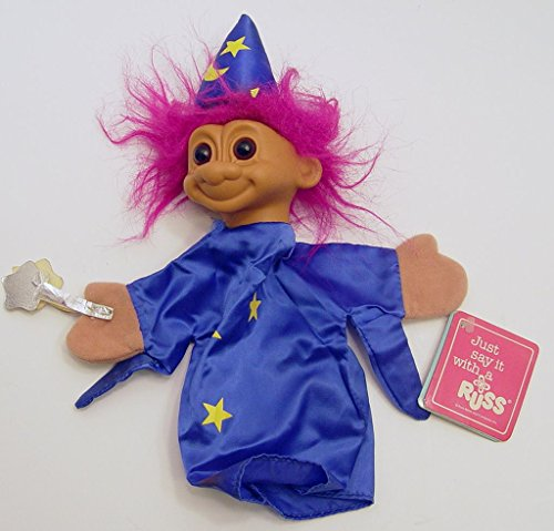 "Russ Troll Wizard Hand Puppet with Purple Hair 10"" Tall"