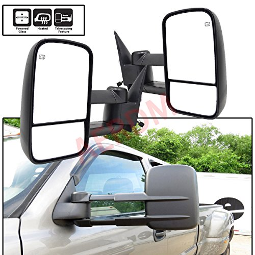 (New 2pcs Pair Left+Right Side Power Operated & Heated Glass Textured Black Telescoping Trailer Towing Mirrors Fit Chevy/GMC/Cadillac Silverado Sierra Avalanche Suburban Tahoe Yukon XL Escalade EXT)
