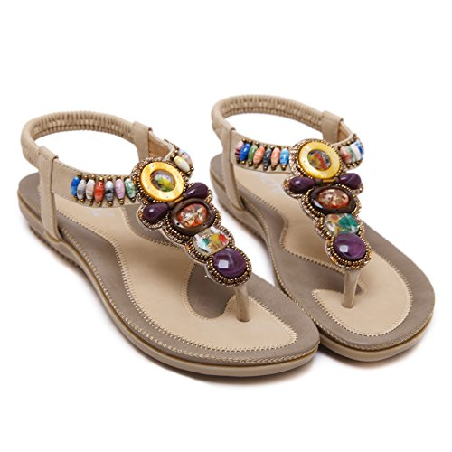 Abby 148-A5 Womens New Stylish Bohemian Exquisite Manmade Gem Colorful Bead Exotic Steady Elastic Non-Skid Thong Flip Flops Ankle Wrap Fresh Sandals Slide Flats Practical Beige CE8SKUJ3A