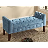 This Tufted Storage Bench is made from elegant blue fabric with velvet feel. Sofa Settee Chair is perfect as window seat, foot of bed accent piece or in Entryway, mudroom, bedroom or living room