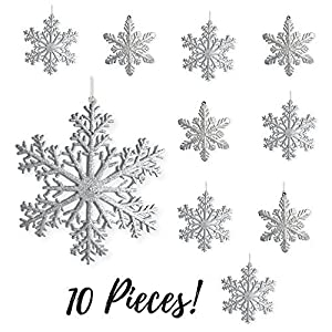 "BANBERRY DESIGNS Large Snowflakes - Silver Glittered Snowflakes - Christmas Snowflake Ornaments Approximately 12"" D 89"