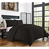 zen bamboo ultra soft 3piece rayon derived bamboo duvet cover set and wrinkle resistant fullqueen black