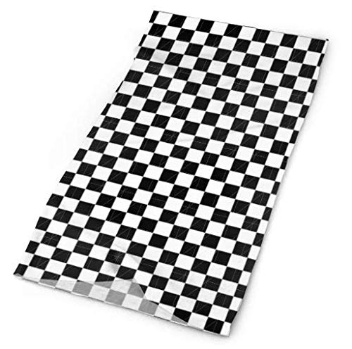 CAWHJDW White Black Checkered Fashion Multifunctional Bandanas - Headwear Bandana Headband for Fishing, Yoga, Running, Motorcycling Outdoor Sports