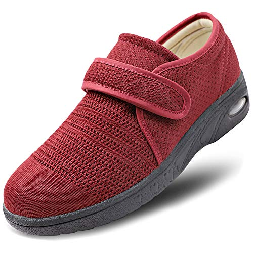(MEJORMEN Womens Breathable Mesh Walking Shoes Adjustable Slip-On Outdoor Sneakers Diabetic Recovery Slippers for Elderly Red)