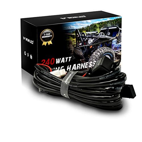 WOWLED LED Driving Work Light Bar Wiring Loom Control 2 Lights Relay Fuse Kit 12V (Switch not Included):