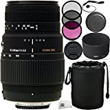 Sigma 70-300mm f/4-5.6 DG Autofocus Lens for Nikon F Mount Cameras 9PC Bundle. Includes Manufacturer Accessories + 3PC Filter Kit (UV-CPL-FLD) + Cap Keeper + Lens Pouch + Microfiber Cleaning Cloth