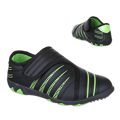 Ital-Design - Zapatillas de Material Sintético para niño Negro - Schwarz Grün