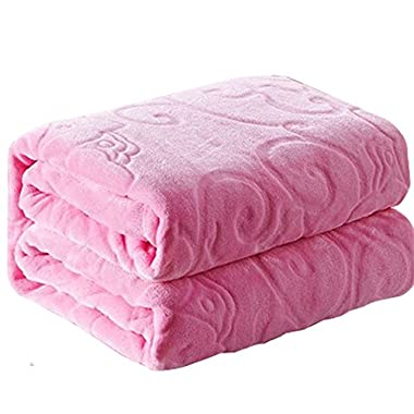 Aifaner Thick Warm Embossed Fleece Blanket Pink, 80''x90'', Fit for Bed Twin/queen/full