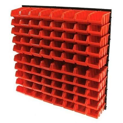 Juego de contenedores de almacenamiento y rejilla para montar en la pared