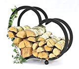 DanDiBo Firewood Rack Indoor Firewood Rack Heart Steel 65 cm Firewood Rack