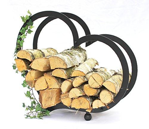 DanDiBo Firewood Rack Indoor Firewood Rack Heart Steel 65 cm Firewood Rack by DanDiBo