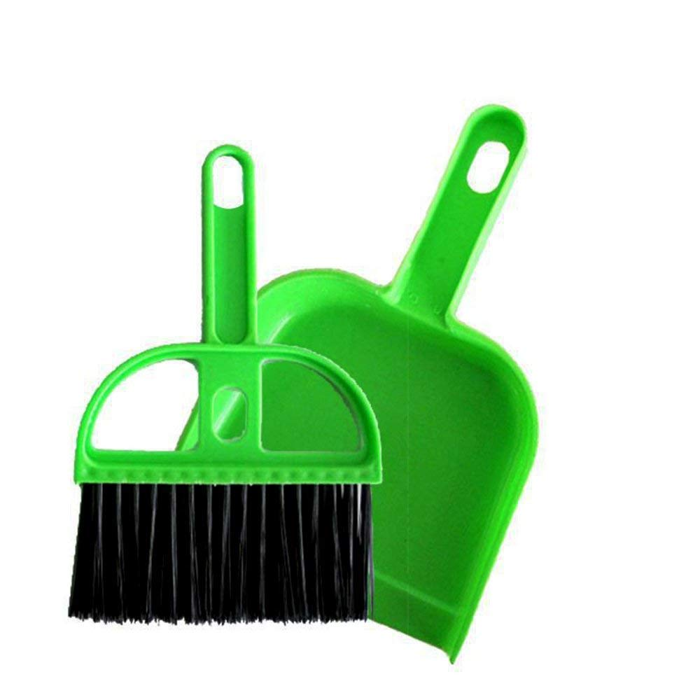 Potelin Car Keyboard Cleaning Brush Mini Whisk Broom Dustpan Set Desk Table Sweeping Tool For Office Home (Green)