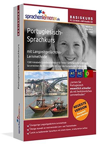 Portugiesisch-Basiskurs mit Langzeitgedächtnis-Lernmethode von Sprachenlernen24: Lernstufen A1+A2. Portugiesisch lernen für Anfänger. PC CD-ROM+MP3-Audio-CD für Windows 10,8,7,Vista,XP/Linux/Mac OS X