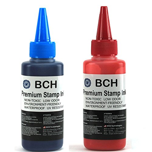 - Blue and Red Combo Stamp Ink Refill by BCH - Premium Grade -2.5 oz (75 ml) Ink Per Bottle