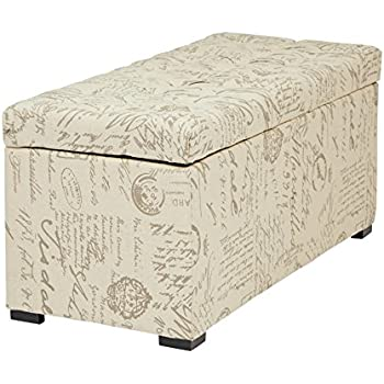 Avenue Six AVE SIX Sahara Tufted Storage Bench With Slam Proof Hinges,  Script Fabric