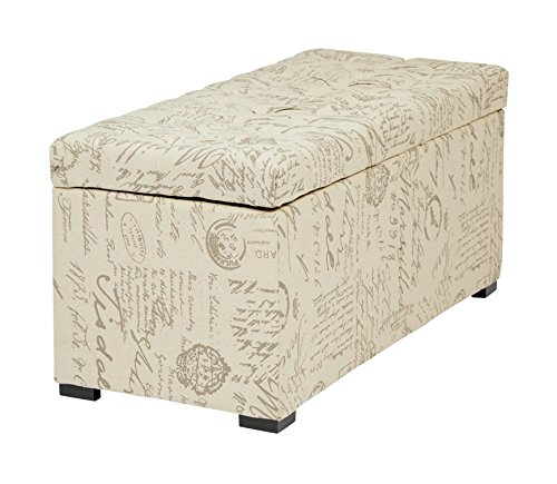 AVE SIX Sahara Tufted Storage Bench in Fabric, Script