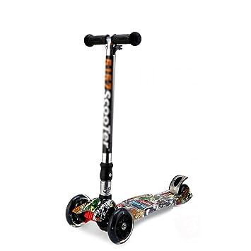 DWW-Scooters para niños Scooter para niños Scooter desmontable de tres ruedas graffiti fresco Manijas de ...