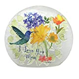Stony Creek Lighted 7'' Round Glass Watercolor Hummingbird - I Love You Mom