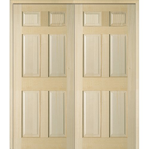 National Door Company Z022604BA Unfinished Poplar Wood 6-Panel 72''x80'' Both Active Prehung Interior Double Door by National Door Company