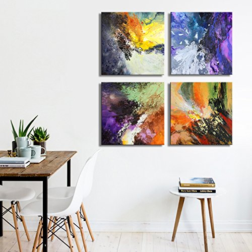 Sunrise Art-Canvas Prints Original Colorful Abstract Painting on Canvas Modern Abstract Cosmos Canvas Art for Living Room by SUNRISE ART (Image #2)