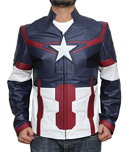 Captain Steve Rogers Costume (Captain america costume adult Age of Ultron Synthetic Leather Jacket S)