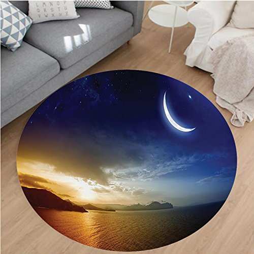 Nalahome Modern Flannel Microfiber Non-Slip Machine Washable Round Area Rug-cor Serene Landscape with Moon Lunar and Star Mystic Holy Sky over Lake Image Blue Orange area rugs Home Decor-Round 75'' by Nalahome