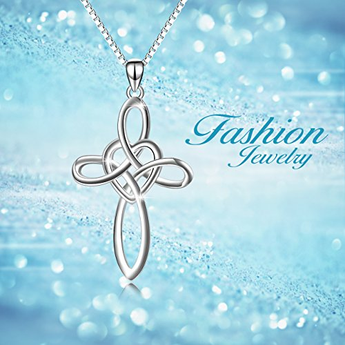 YFN Celtic Knot Cross Necklace 18k White Gold Overlay Sterling Silver Infinity Love Heart Pendant Necklace for Women Men 18'' by YFN (Image #5)