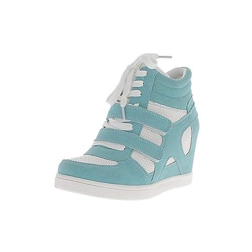 Zapatillas de cuña de Levantamiento Blancos y Azules en el tacón de 7,5 cm - 41: Amazon.es: Zapatos y complementos