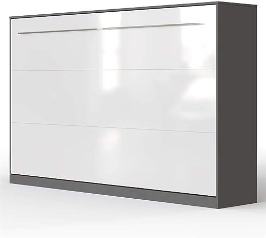 Smartbett Standard 120x200 Horizontal Anthrazitweiss Hochglanzfront Schrankbett Ausklappbares Wandbett Ideal Geeignet Als Wandklappbett Fürs