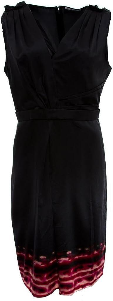 T Tahari Elizabeth Dress Stretch Satin Border Print Black