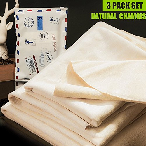 White Chamois - (3 PACK) Car Natural Chamois Cleaning Cloth, RIVERLAKE Genuine Deerskin Leather Auto Car Wash Drying Towel,Super Absorbent,3 Available Sizes.L/M/S (L/M/S 3IN1)