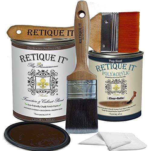 Retique It Chalk Furniture Paint by Renaissance DIY, Poly Kit, 14 Arabian Coffee, 32 Ounces
