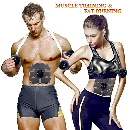 MMlove Electric ABS Stimulator with 10 Gel Pads,Portable Abdominal Muscle Trainer for Men Woman,EMS Abdominal Muscle Exerciser with Rhythm Soft Impulse-Simple Operation for Abdomen/Arm/Leg/Waist