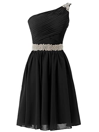 Solovedress Womens One Shoulder Short Prom Dress Chiffon Beaded Homecoming Dress Evening Gown (Black,