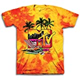 MTV Mens Tie Dye Shirt - #TBT Mens 1980's Clothing - I Want My T-Shirt (Yellow Swirl, XX-Large)